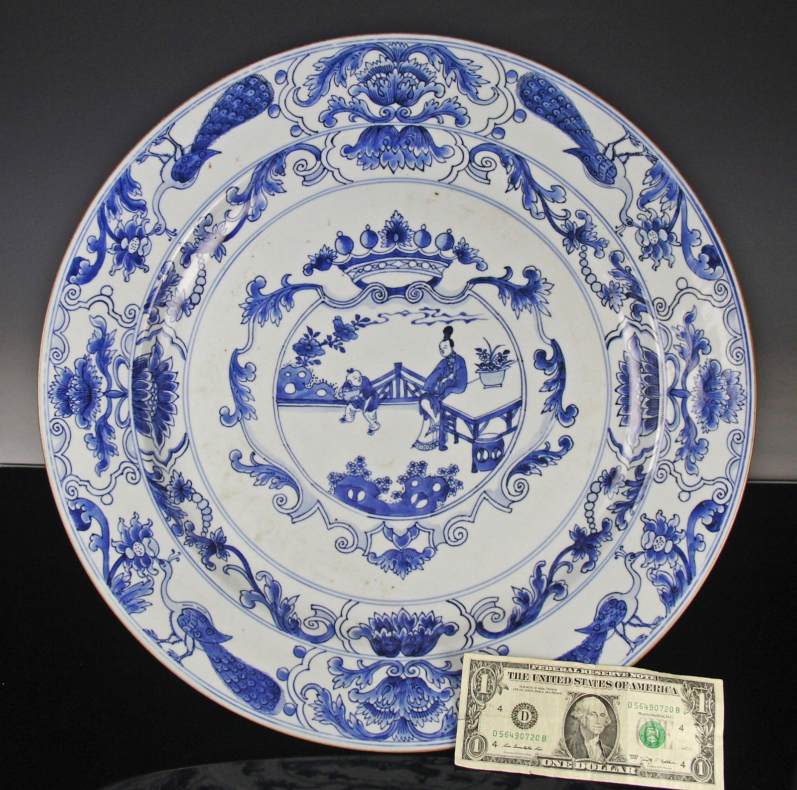 China antique Porcelain Blue and white Hand-painted Landscape plate