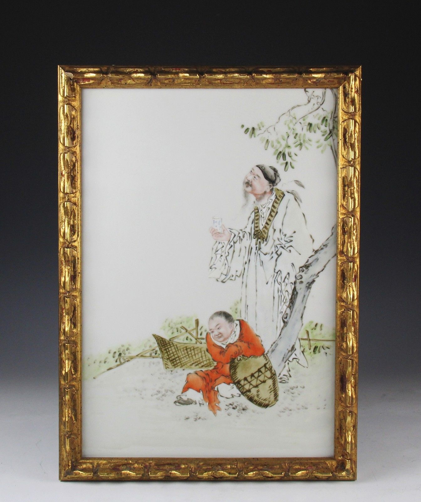 Old Hand Painted Chinese Porcelain Tile Plaque Of Elder