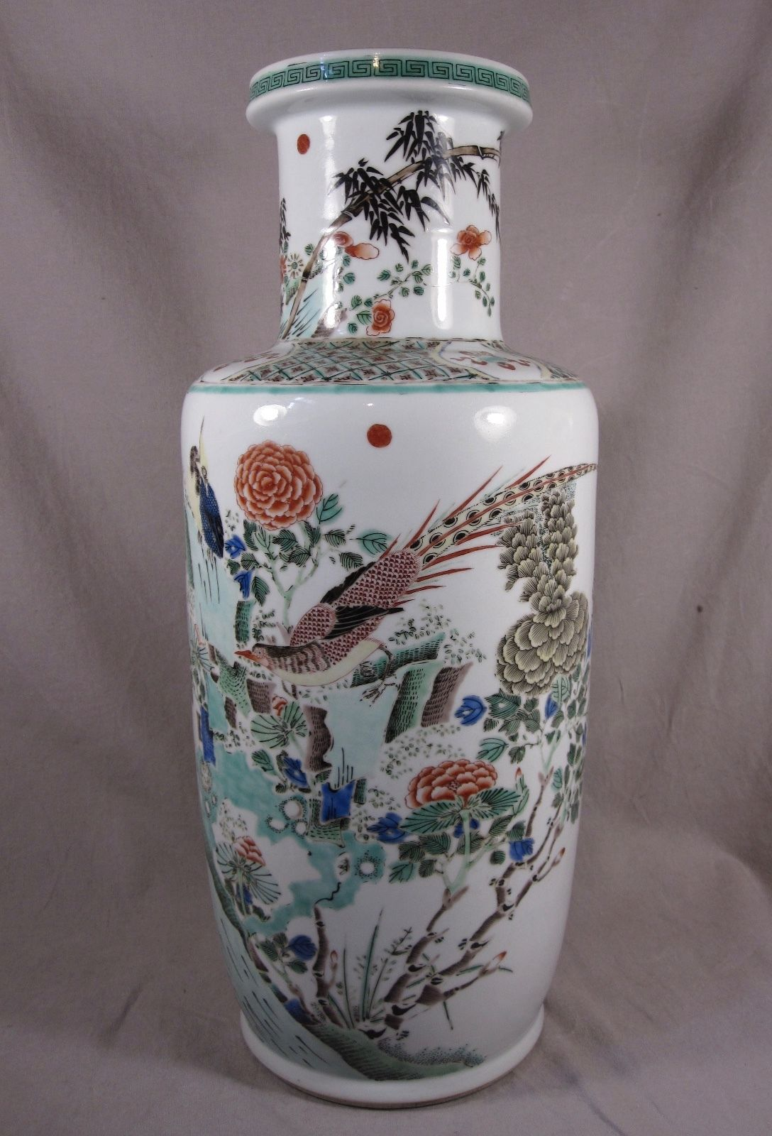 45 Cm Famille Verte Kangxi Style Chinese Porcelain Vase Birds 19th Antique Chinese