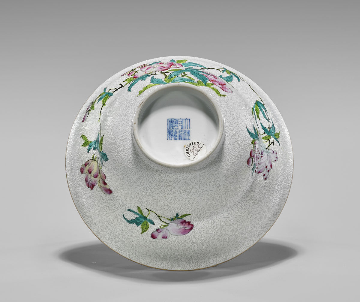 IMPORTANT Famille Rose u0027Faux-Boisu0027 Bowl Qianlong Seal Mark and of the Period & IMPORTANT Famille Rose u0027Faux-Boisu0027 Bowl Qianlong Seal Mark and of ...