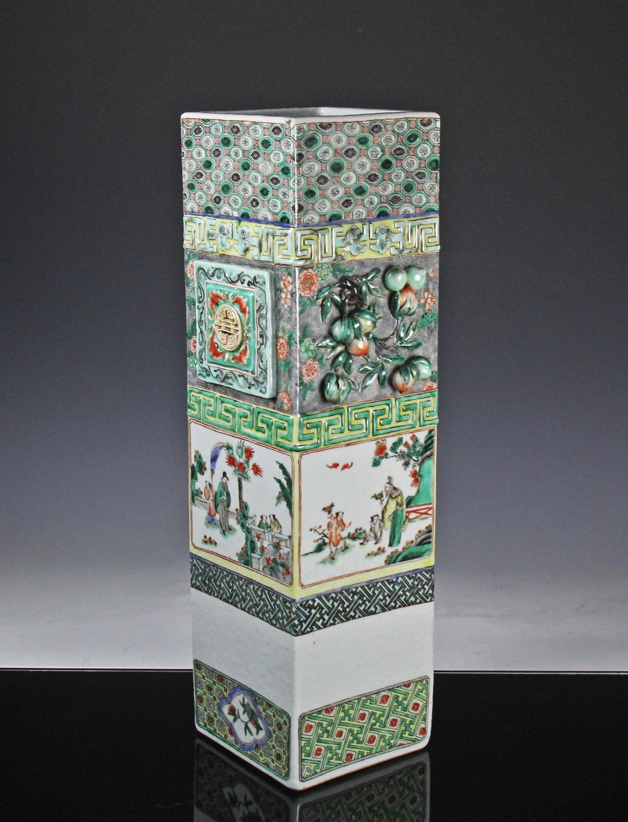 Large Antique Chinese Four Sided Famille Verte Porcelain Vase W Relief Antique Chinese