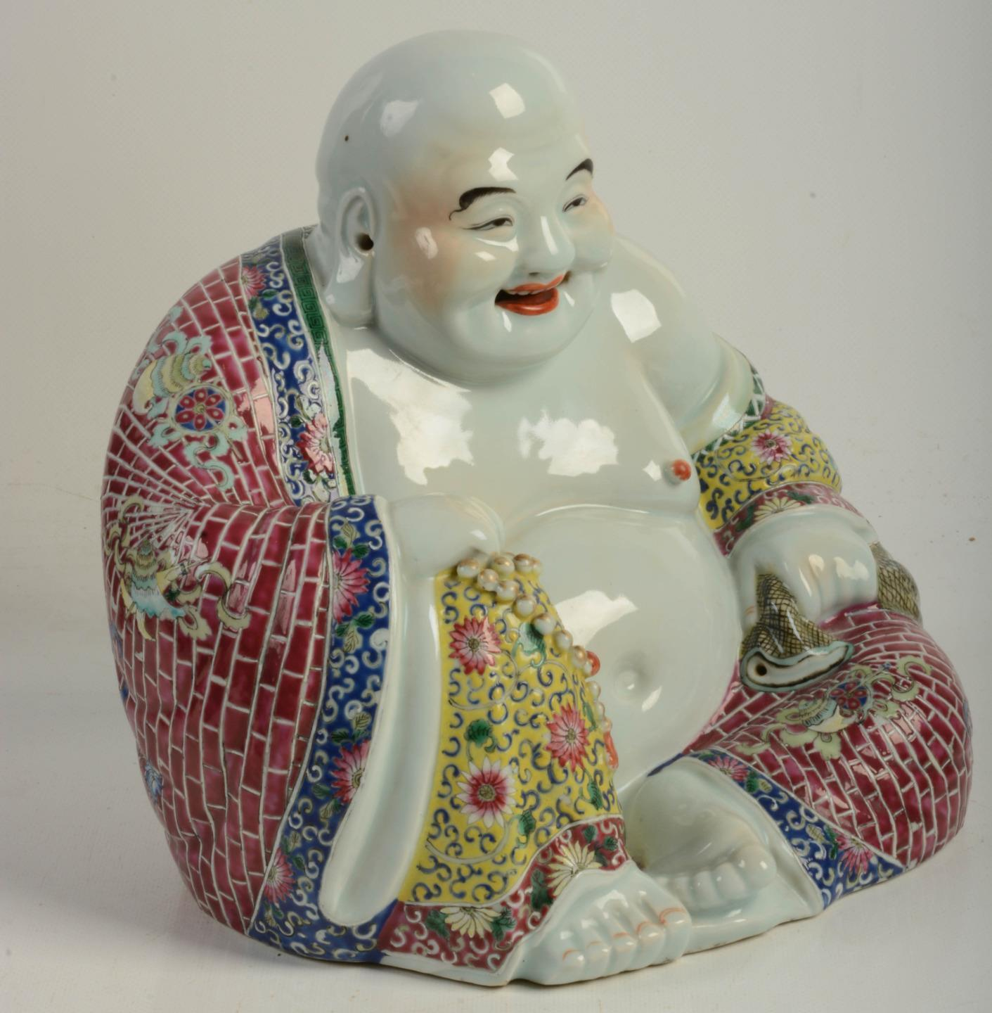 Rare Antique Chinese Famille Rose Porcelain Large Buddha Marked Verte Quality Antique Chinese