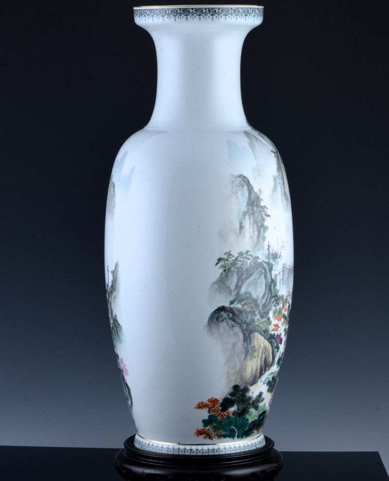 Large Chinese Cultural Revolution Famille Rose Mountain Landscape Vase Antique Chinese