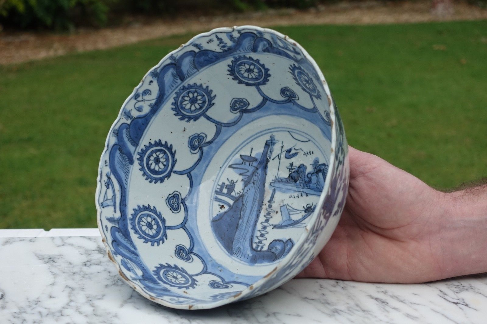 Rare Chinese Wanli Period Kraak Blue Amp White Flying Horses Porcelain Bowl Antique Chinese