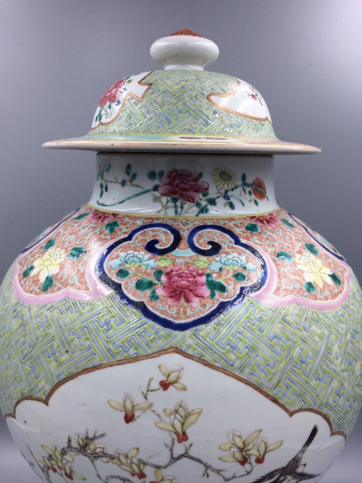 Chinese Antique Covered Baluster Vase Famille Rose Qing