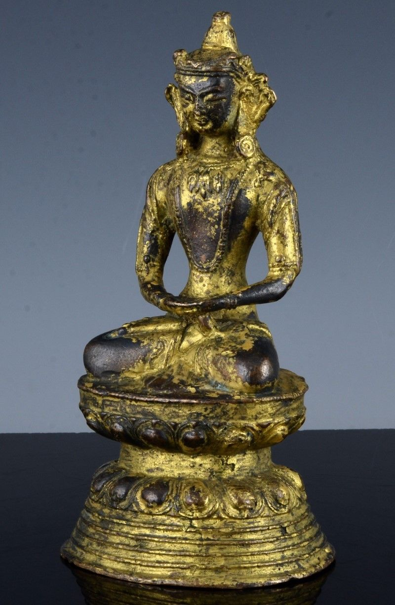 Very Rare Chinese Gold Gilt Bronze Buddha Figure Ming Dynasty Or Earlier Antique Chinese