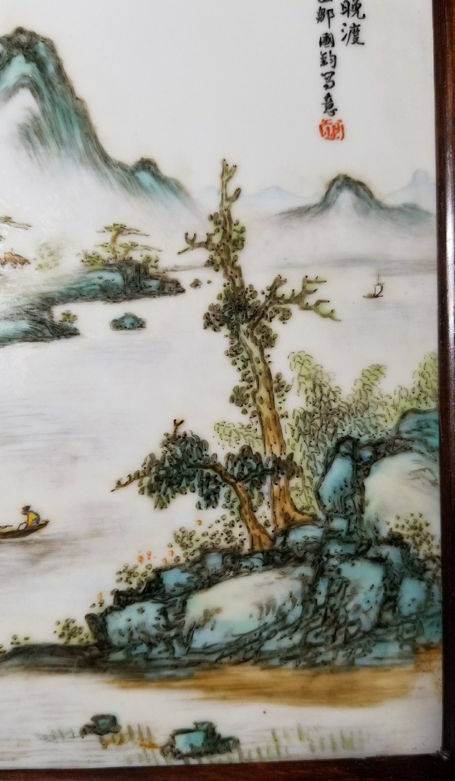 Antique Chinese Famille Rose Porcelain Tile Pastel