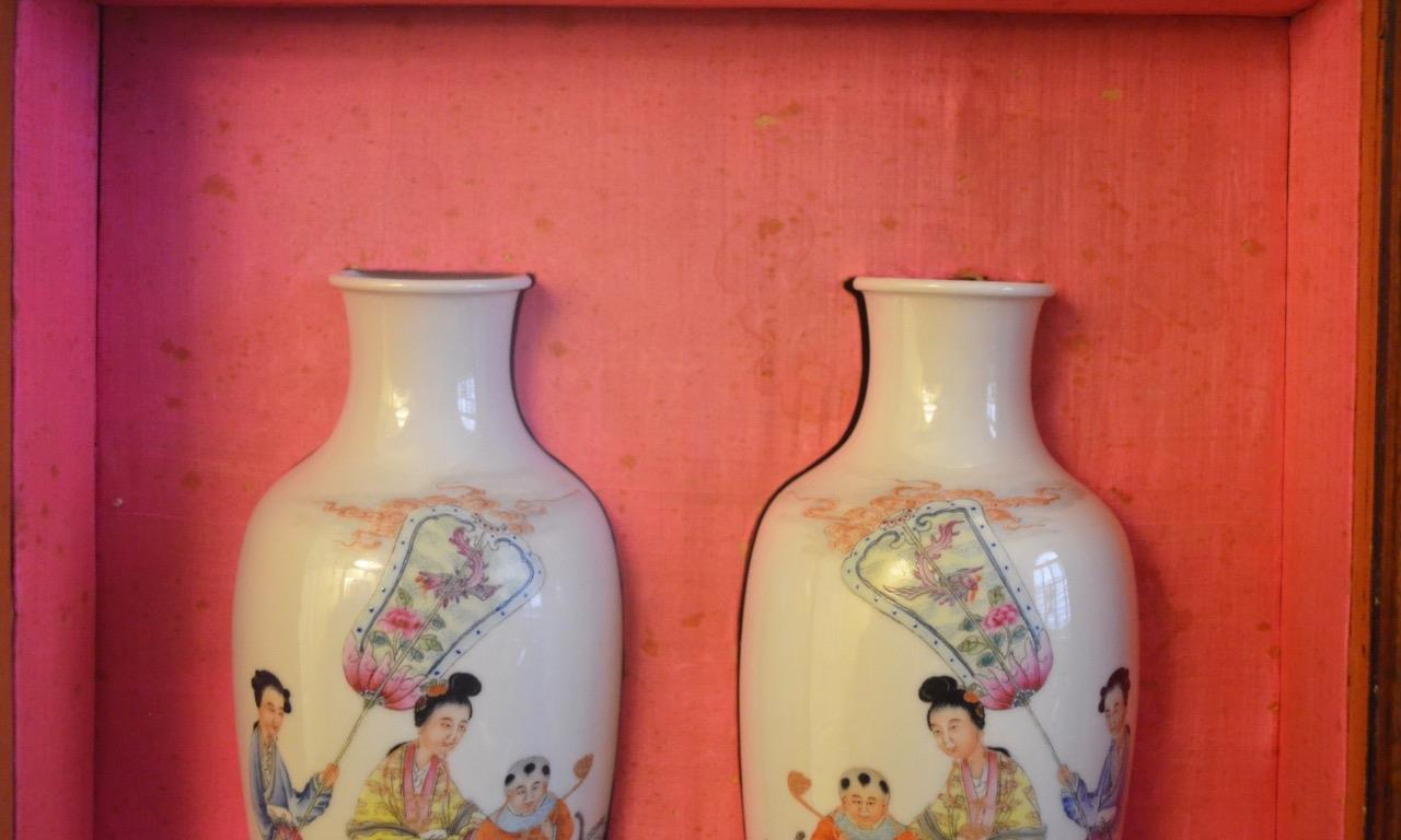Pair Of Antique Chinese Vases In A Custom Fitted Wood Box