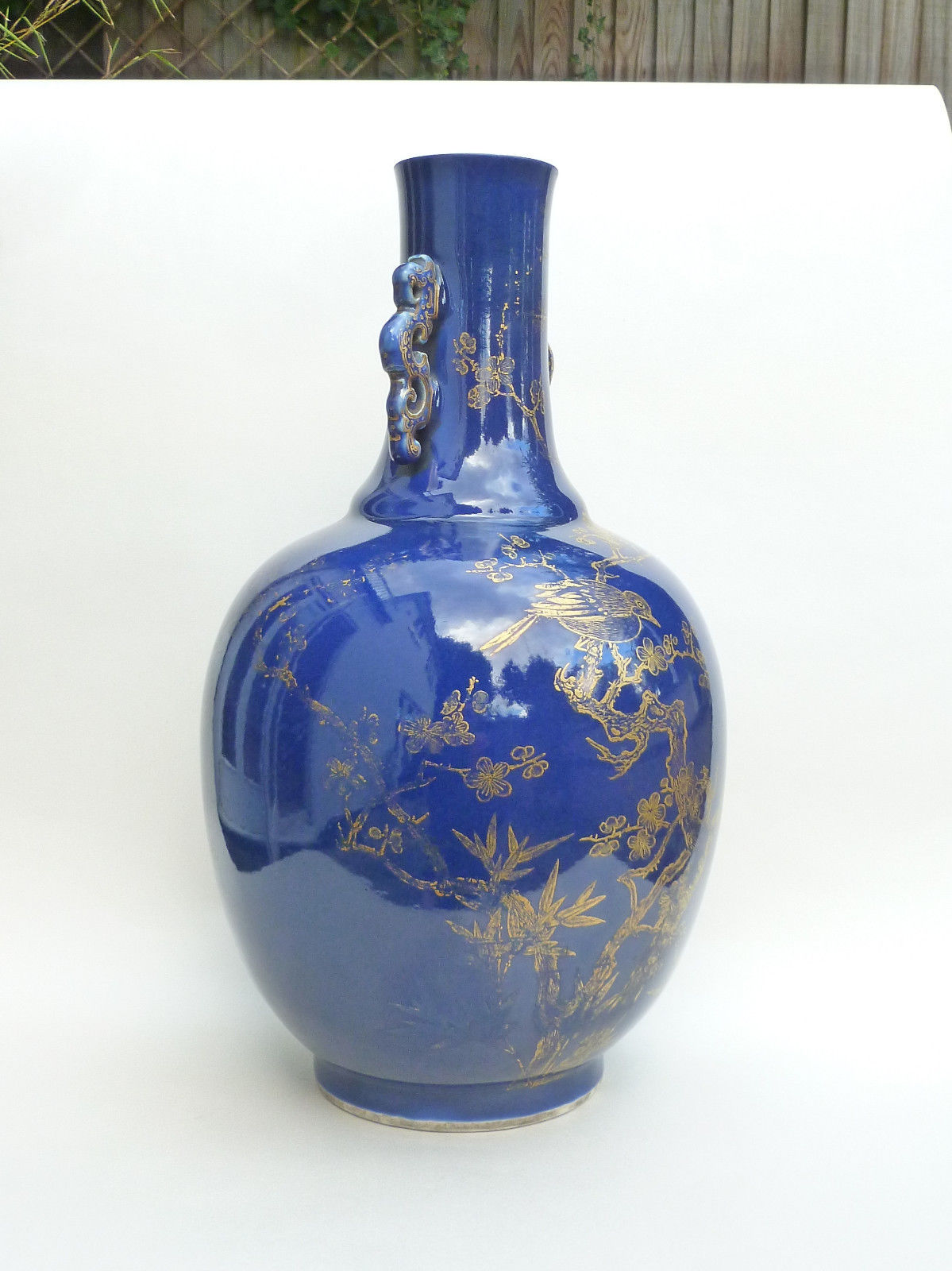Antique Chinese 19th Century Monochrome Blue Vase Gold