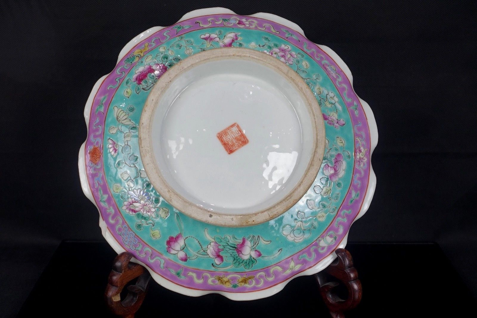 Rare Large 19th Chinese South East Asian Nyonya Peranakan Straits Footed Bowl Antique Chinese