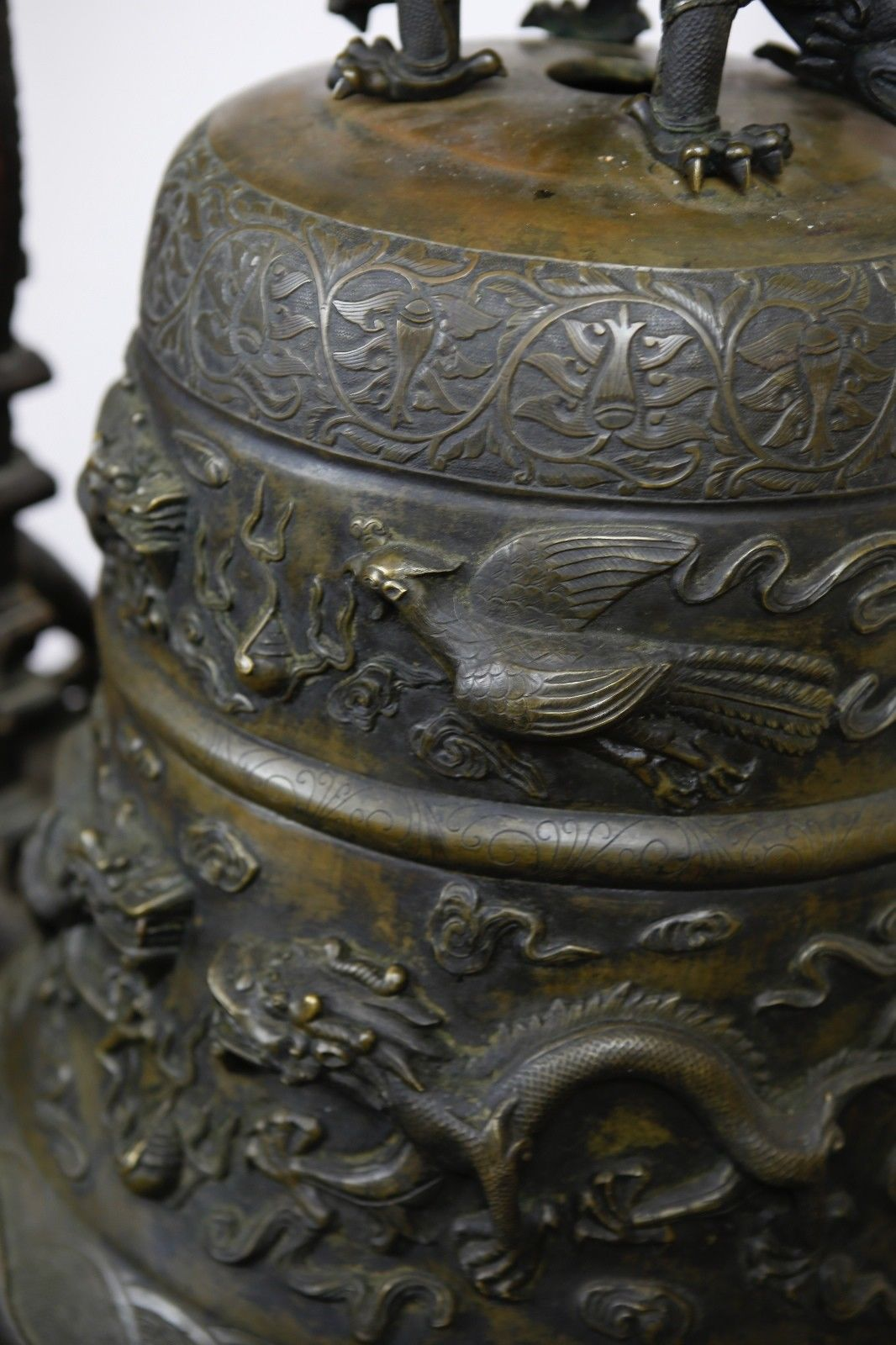 Large Chinese 19th C Century Bell Dragon And Fenix With Wooden Stand Xuande Mark Antique Chinese