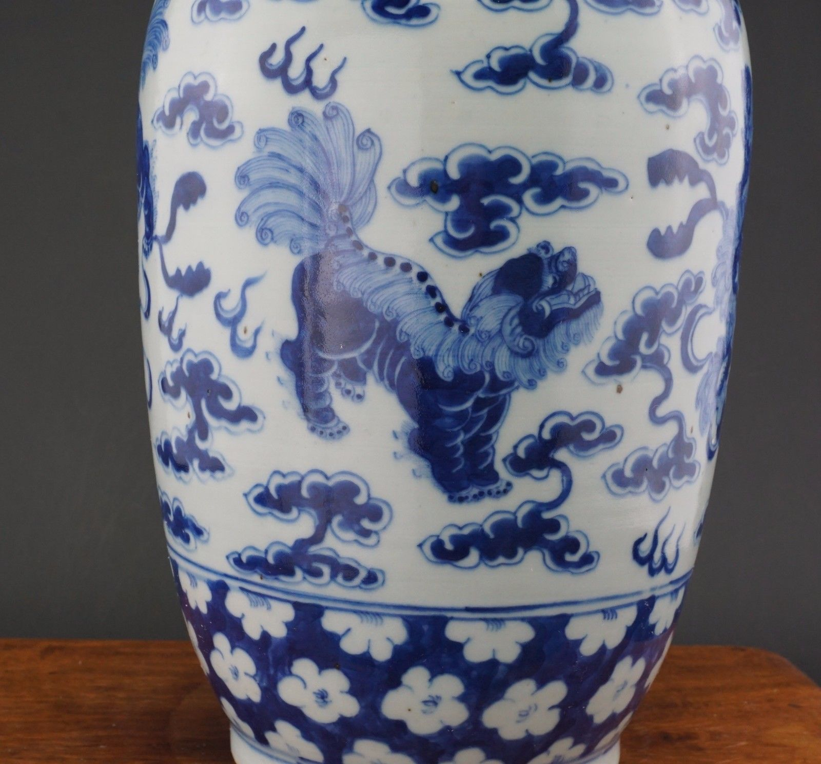 Large Antique Chinese Blue And White Porcelain Prunus Lion Vase 18 19th C Antique Chinese