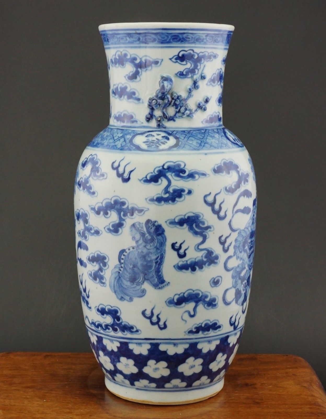 Large Antique Chinese Blue And White Porcelain Prunus Lion