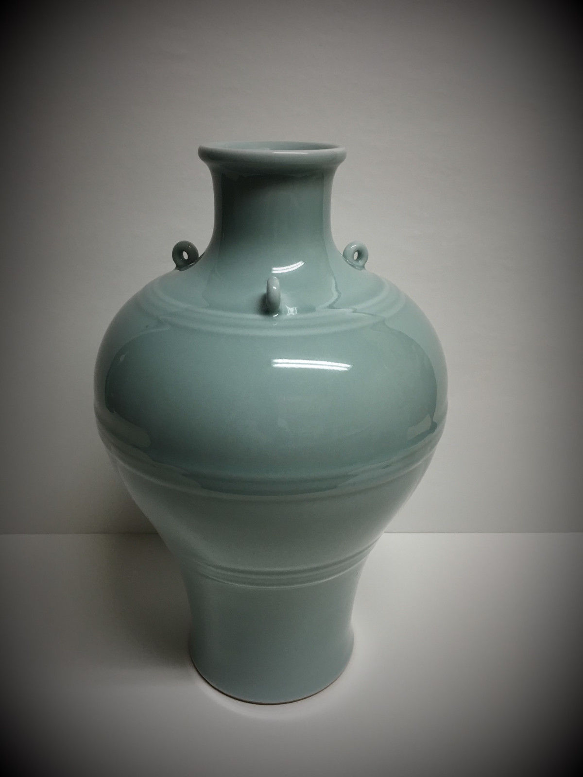 Large Antique Chinese Celadon Glaze Meiping Porcelain Vase Yongzheng Period Antique Chinese